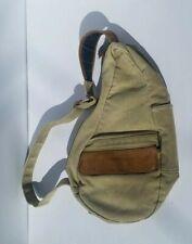 LL Bean Traveler Ameribag Sling Backpack Khaki Green Brown Leather Healthy Back