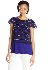 Kensie Top Stacked Lines Imperial Purple Combo Size Large New with tags $ 65