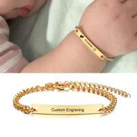 Personalized Kid Child Baby ID Name Bar Bracelet Engraving Newborn Birthday Gift