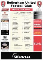 Teamsheet - Rotherham United v Tranmere Rovers 2005/6 (8 Apr)