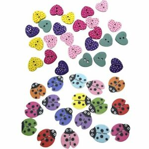 50x Ladybug Heart Wood Buttons Sewing Buttons For Kids Clothes