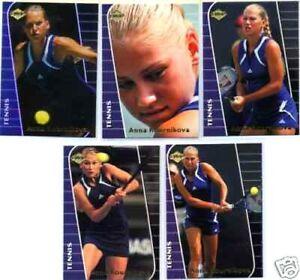 Anna Kournikova 2000 Collector's Edge complete set of 5 tennis Rookie Cards RCs