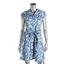 Lauren Ralph Lauren 5197 Womens Blue Floral Print Shirtdress 18 Plus BHFO