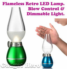 Flameless Retro LED Lamp. Blow Control & Dimmable Light. 3 LED USB Rechargeable