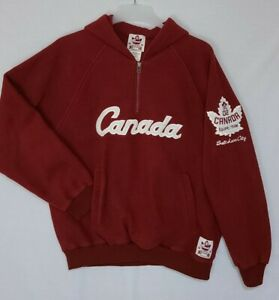Vtg Canada Olympic 1/4 Zip Fleece Pullover Roots 2002 Salt Lake Sz M (Q2)