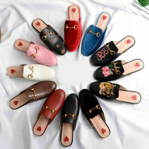 Women's Embroidery Real Leather Backless Loafer Slippers Slide Princetown Shoes