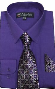Men's Dress Shirt with Matching Tie + Handkerchief, Comes in 22 Colors #21B