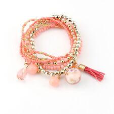 Fashion Women Bohemian 1 PC Multilayer Elastic Bead Bracelet Bangle Xmas Gift Orange