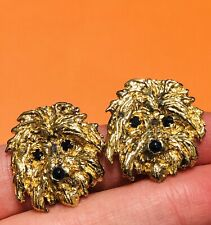 Vintage Gilded Sterling Silver Dog Earrings