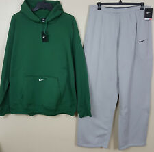 NIKE THERMA-FIT SWEATSUIT HOODIE + PANTS OUTFIT GREEN GREY NEW RARE (3XL / 2XL)