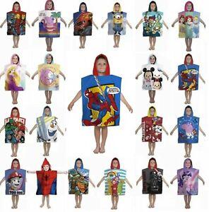 Character Hooded Bath Beach Swimming Towel Poncho Kids Boys Girls Cotton Cartoon