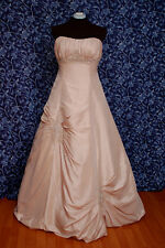 Forever Yours 48223 Tan, Beige Taffeta w/ Silver A-line Bridal Dress 10 NWT