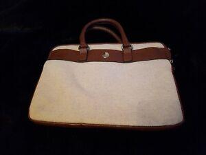 Knomo 13 Inch Laptop bag, Tan Leather & Fabric