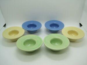 6 Waechtersbach Ceramic Tea Light Candle Holders Blue, Green, Yellow  Germany