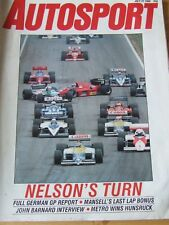 AUTOSPORT MAGAZINE JUL 1986 NELSON'S TURN JOHN BARNARD INTERVIEW METRO MANSELL