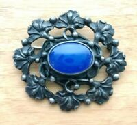 """Antique """"Hibiscus"""" Sterling Silver and Blue Agate Victorian Brooch Peruzzi Style"""