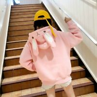 Lady Girl Loose Pullover Sweatshirt Hoodies Tops Japanese Bunny Cute Kawaii Coat