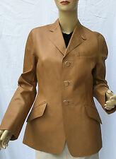 Ralph Lauren Black Label Tan Leather Jacket Coat Womens 8 Button Front