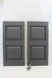 "Master Shutters 15"" Panel Shutter Tuxedo Gray Pair"