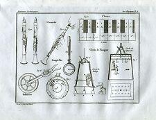 Clarinetto.Conta Passi.Odometro.Campana di Halley e di Plymouth. Acquaforte.1835