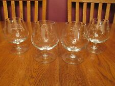 Four Lovely Princess House Heritage Floral Etched Brandy Glasses Snifters