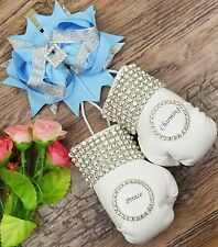 Personalised sparkly boxing gloves pram charm with bling rhinestones