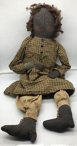 Large Antique Folk Art Black Americana Rag African American Girl Doll Handmade