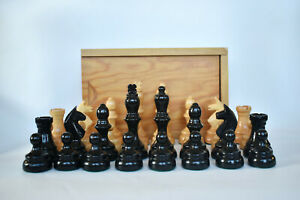 Vintage Swedish Wooden Weighted Chess Pieces Set King 79mm