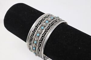 Antique Art Deco Sterling Silver 925 Mexico Turquoise Cuff Bangle Bracelet 40g