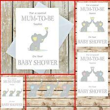 HANDMADE PERSONALISED ELEPHANT BABY SHOWER CARD MUM MUMMY MOTHER TO BE