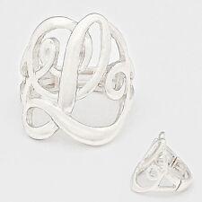 "Monogram Initial Script Ring letter L Silver 1""Stretch Silver"
