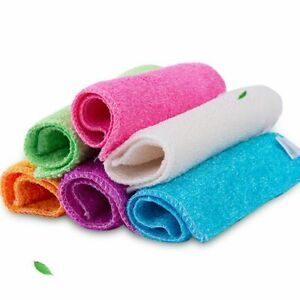 Bamboo Fiber Anti-grease Dish Cloth Cleaning Rags Washing Towel Scouring Pad