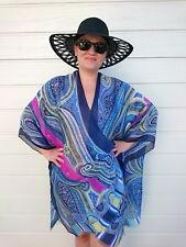 Silk Kimono Cover Up/ Pink Kimono Cardigan/ Plus Size Blue Kimono Jacket