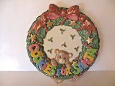 """Fitz And Floyd Cookies For Santa Plate Teddy Bear & Holly 10"""" Wide"""