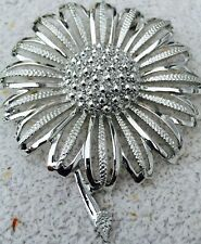 Signed Pin Ladies Brooch Vintage Beautiful Silver Tone Sunflower Sara Coventry