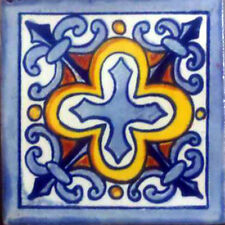 #C112) Mexican Tile sample Ceramic Handmade 4x4 inch, GET MANY AS YOU NEED !!