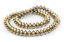 Ethiopian Brass Saucer Beads 14mm African 24 Inch Strand Handmade