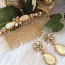 Opalesque Sparkle HAIR COMB & Matching Pierced Earrings gift set NIB