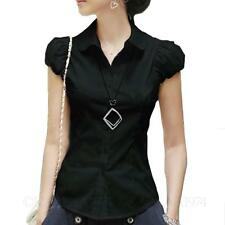 Summer Collared Shirt Button Blouse Short Sleeve Smart Casual Dress Top Size Black 12