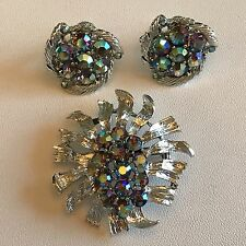 Lisner Demi Parure Silver Aurora Borealis Rhinestone Pin Screw Back Earrings