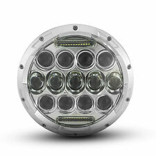 75W Chrome Projector LED Headlight Insert with DRL for Harley Fat Boy FLSTF