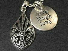 "Teardrop Rustic Live Laugh Love Charm Tibetan Silver with 18"" Necklace BIN"