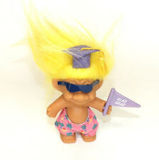 "Troll Doll Russ Glad Grad Graduation Cap Flag Yellow Hair 4"" Vinyl Figure Shorts"