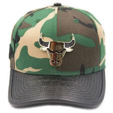 Pro Standard Men's Chicago Bulls Logo Metal Plate Buckle Back Hat Camo Black