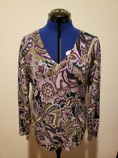 Talbots Women's Floral Blouse Top Italian Merino Wool Size Large