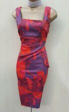 UK 12 KAREN MILLEN  Satin Red Lilac Floral Cocktail Races Peplum Pencil Dress