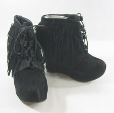 """Privileged Black 5""""high wedge heel round toe lace/frill ankle boots Size  8.5 p"""