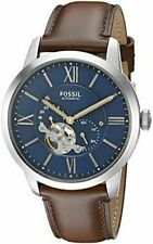 Fossil ME3110 Men's 44mm Leather Band Steel Case Automatic Analog Watch - Brown/Blue