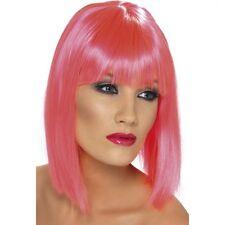 Womens Neon Pink Glam Wig Short Blunt Fringe Fancy Dress Beauty Model Bob Colour