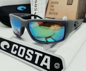 COSTA DEL MAR matte gray/green mirror FANTAIL POLARIZED 580P sunglasses NEW